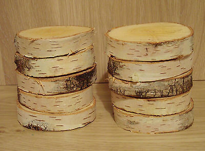 "10 Silver Birch Bark Wood Log Slices Decorative Display Logs 3-4 "" diam x1""thick"