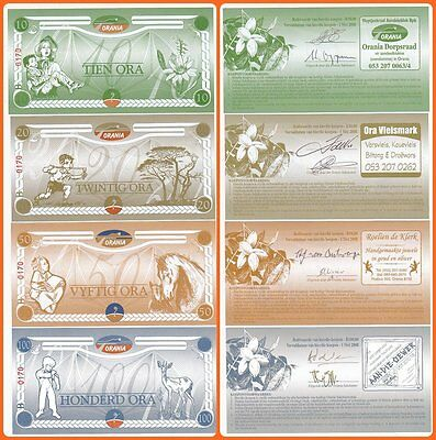 South-Africa ORANIA 4 Matching S/N 10 to 100 Ora Series UNC Banknotes!!
