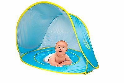 VELES Baby Beach Pop-Up Tent with Kiddie Pool, UV Protection Sun Shelter (Blue)