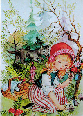 LITTLE RED RIDING HOOD COLLECTS FLOWERS WOLF WATCHES HER Modern Russian card