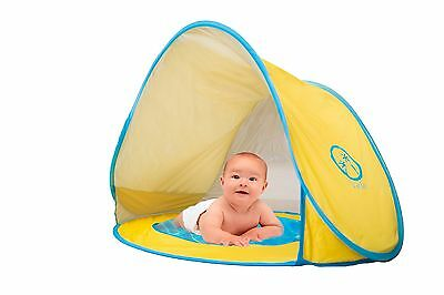 VELES Baby Beach Pop-Up Tent with Kiddie Pool, UV Protection Sun Shelter-Yellow