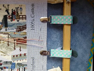 Scroll Frame Side Bar Tension Clips (Pair) For Floppy Fabric Cross Stitch