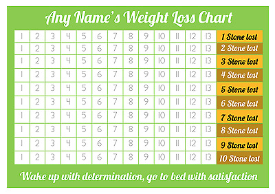 Personalised Weight Loss Chart - 10 stone - Laminated with 2 sheets of stickers