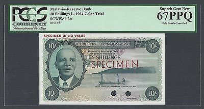 Malawi 10 Shillings L 1964 P2ct Colour Trial Uncirculated