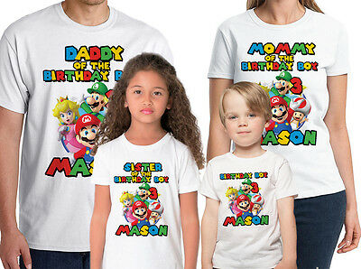 Super Mario Shirt Custom Birthday Shirt Personalized Name and Age Mario T-Shirt
