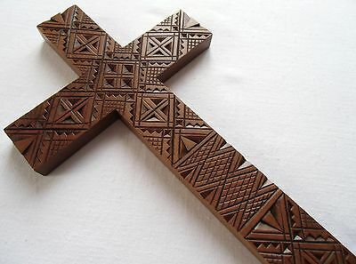 Ukrainian Religious Wooden Wall Hanging Cross hand carved crafted wood decor art