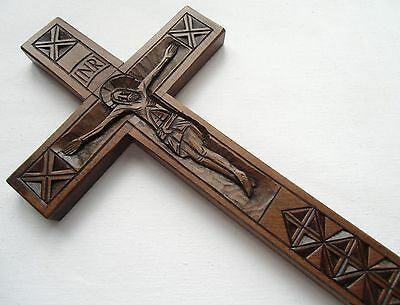 Religious Wooden Wall Cross Crucifix Jesus Christ hand made carved crafted wood