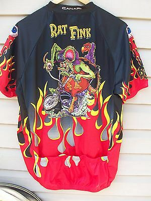 Canari Ed Roth Rat Fink Bicycle Bike Cycling Jersey Shirt Eyeballs Flames Men LG