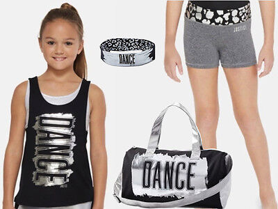 Justice 4 Pc NWT Sz 18-20 Dance Tank, Compression Shorts, Duffle Bag & Headband