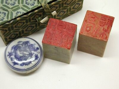 Chinese Ink Stones..pair..box..ink Holder..very Interesting