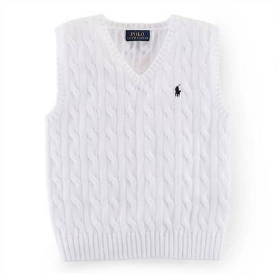 NEW Ralph Lauren Boys White Knitted Vest Jumper Sweater 9-12 months