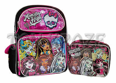 "Monster High Rolling Backpack & Lunch Box Set! Pink Foil Roller Large 16"" Nwt"