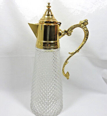 Vintage Heavy Cut Glass Claret Pitcher w Ornate Gold Spout and Handle