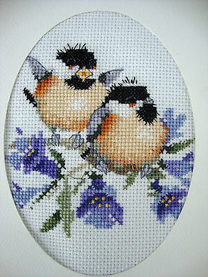 """Completed Finished Cross Stitch Card ''chickadee Birds 2"""""""