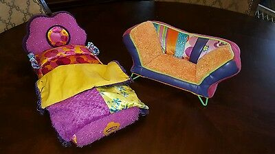 GROOVY GIRLS Colorful Plush Stuffed Bed & Sofa Couch Furniture Lot