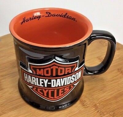 Harley Davidson Coffee Cup Raised Logo Black & Orange Mug