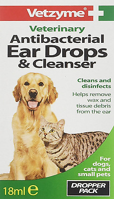 Pet Ear Drops and Cleanser Dog Cat Vetzyme Antibacterial Wax Remover, 18ml