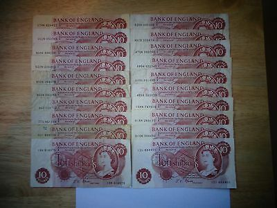 20 Great Britain Bank Of England 10 Shilling B309 B310 Notes Fforde Afine/VF