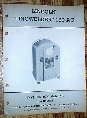 Lincoln Electric LINCWELDER 180 AC Instruction Manual 1950 Owners Metal Welding