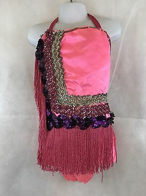 Girl's Vintage Dance Halter Leotard Pink With Sequin And Fringe Collectible