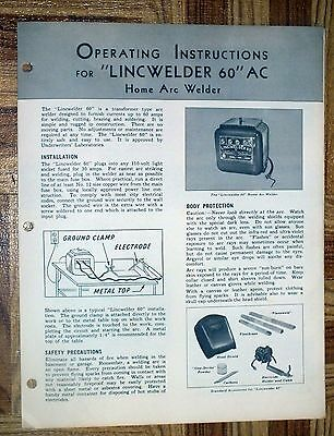 Lincoln Electric LINCWELDER 60 AC Operating Instructions 1949 Owners Arc Welding