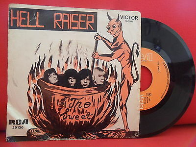 1973 THE SWEET Hell Raiser 7/45 PORTUGAL UNIQUE AMAZING SLEEVE Glam Rock RARITY