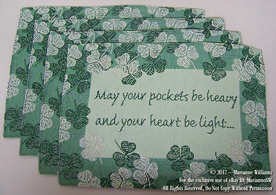 4 New St Patricks Day Tapestry Placemat Table Mat Green Shamrocks & Irish Quote