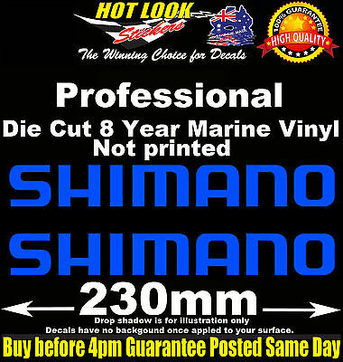 SHIMANO Decals x2 230mm Wide stickers for boat Kayak fishing tackle box fridge