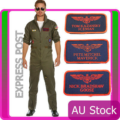 Top Gun Mens Aviator Costume Pilot Flight 80s Film Suit Pete Mitchell Maverick
