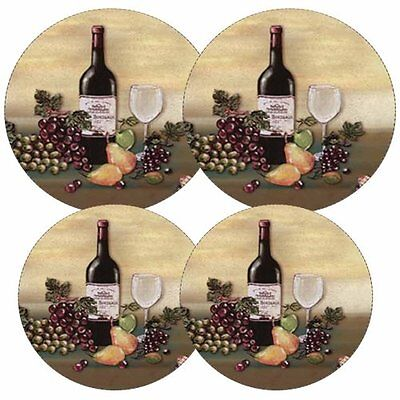 Reston Lloyd Electric Stove Burner Covers, Set of 4 Wine and Vine Pattern New