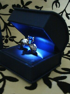 Fancy Blue Italian Leather Led Lighted Engagement Ring Box W/ Ribbon Gift Box