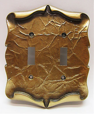 Vintage Amerock Double Light Switch Plate Carriage House Antique English Brass