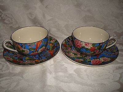2 CROWN DUCAL BLUE CHINTZ CUPS & SAUCERS BLACK RIM c. 1926