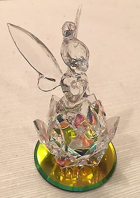 Retired Disney Park Crystal TinkerBell Sitting In A Flower By Arribas Bros.