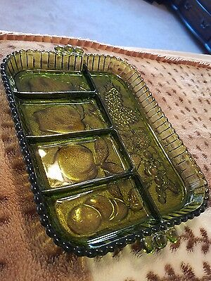 Vintage MCM Divided Avocado Green Glass 5 Section Relish Tray/Plate/Dish
