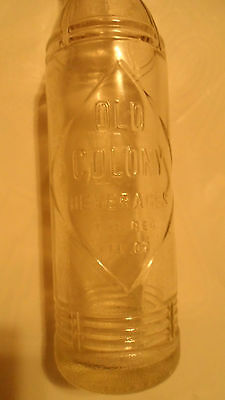 VINTAGE OLD COLONY POP SODA CLEAR GLASS BOTTLE 7oz SIZE GREAT CONDITION