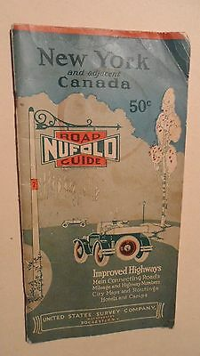 Antique Road Map New York And Adjacent Canada , Dated 1927 , Road Nufalo Guide