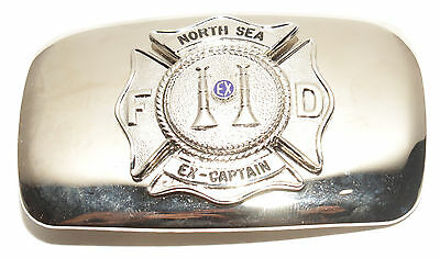 Vintage North Sea Fire Dept Southampton NY Ex Captain Silver Tone Belt Buckle