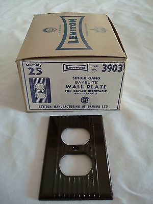 25 Bakelite Single Gang Brown Ribbed Wall Plate Duplex Leviton New Old Stock