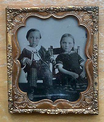 AMBROTYPE of Young Girl & Boy W/Checked Pants 1860s 6th Plate Sharp Image