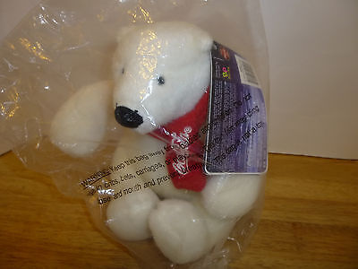 "Coca Cola Coke 2007 White Polar Bear Plush Red Scarf 7"" Best Play NEW with Tag"