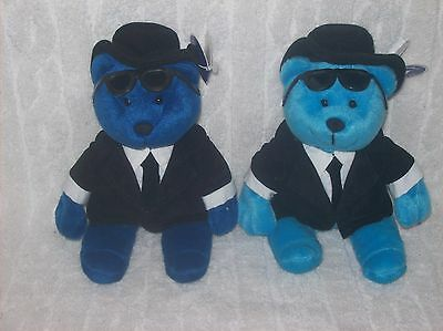 """Set Of Two Blues Bear Adorable Collectibles The Bears In Blue """"rhythm And Blues"""""""