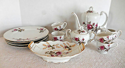 Vtg Tea Set 13 Piece Napco Red Roses Japan Porcelain China Teapot Dessert Dishes