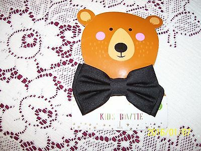 "NEW Kids Bowtie Boys Black Bow Tie bowtie 3 1/2 "" x 2"" clip on style"