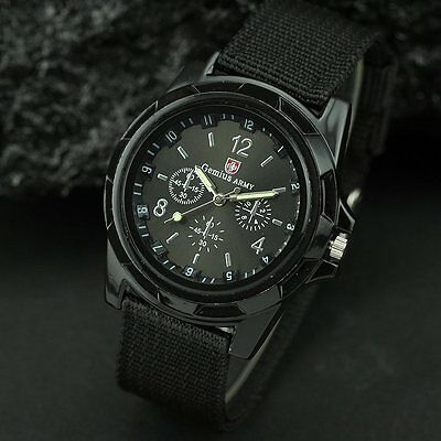 BLACK MENS SWISS MILITARY ARMY WATCH Sports Water Resistant Silver Gold Womens