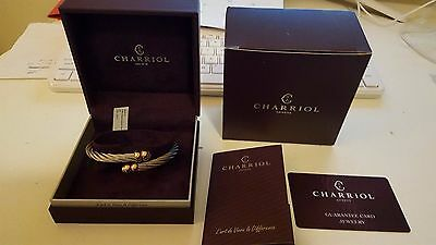 CHARRIOL Bracelet Silver Bangle Celtic Rose Gold NEW in Box RARE! NIB! WOW!