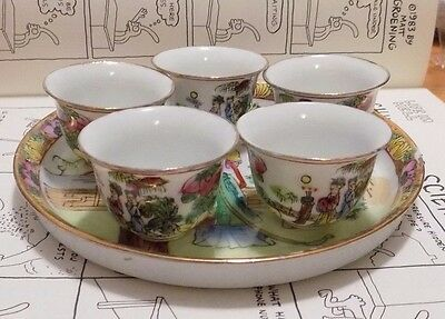 Small Chinese Asian Sake Cup Set with Plate Made in China Scenery Women