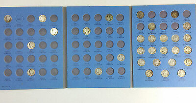 Lot of 62 all Different 90% Silver Dimes Mercury Roosevelt in Booklets