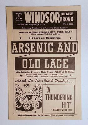 WINDSOR THEATER Bronx NEW YORK Vintage Playbill 1944 Arsenic & Old Lace RARE