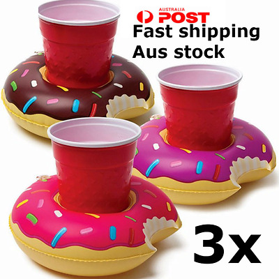 3 Pack Donuts Inflatable flotable Drink Holder summer pool party beach
